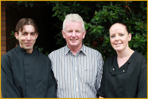 Head chefs Brian McAuley and Noelette O'Loughlin with proprietor Michael Clancy